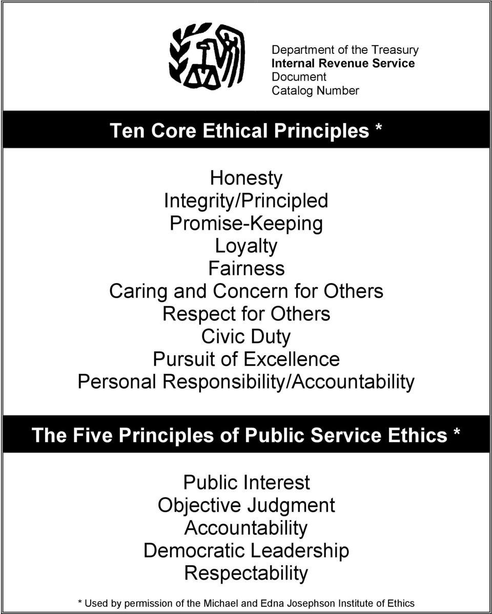 Excellence Personal Responsibility/Accountability The Five Principles of Public Service Ethics * Public Interest Objective