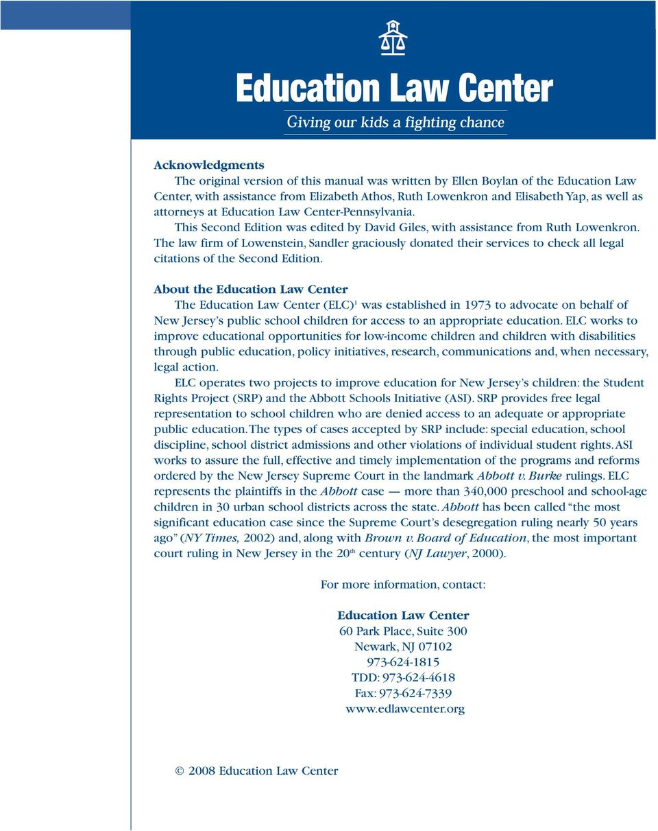 The law firm of Lowenstein, Sandler graciously donated their services to check all legal citations of the Second Edition.