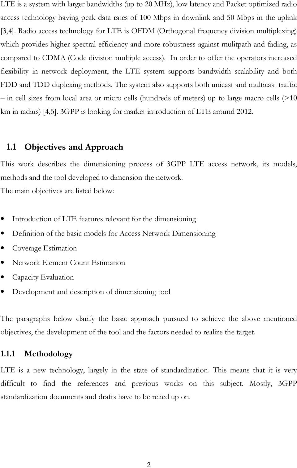 dimensioning of lte network. description of models and tool