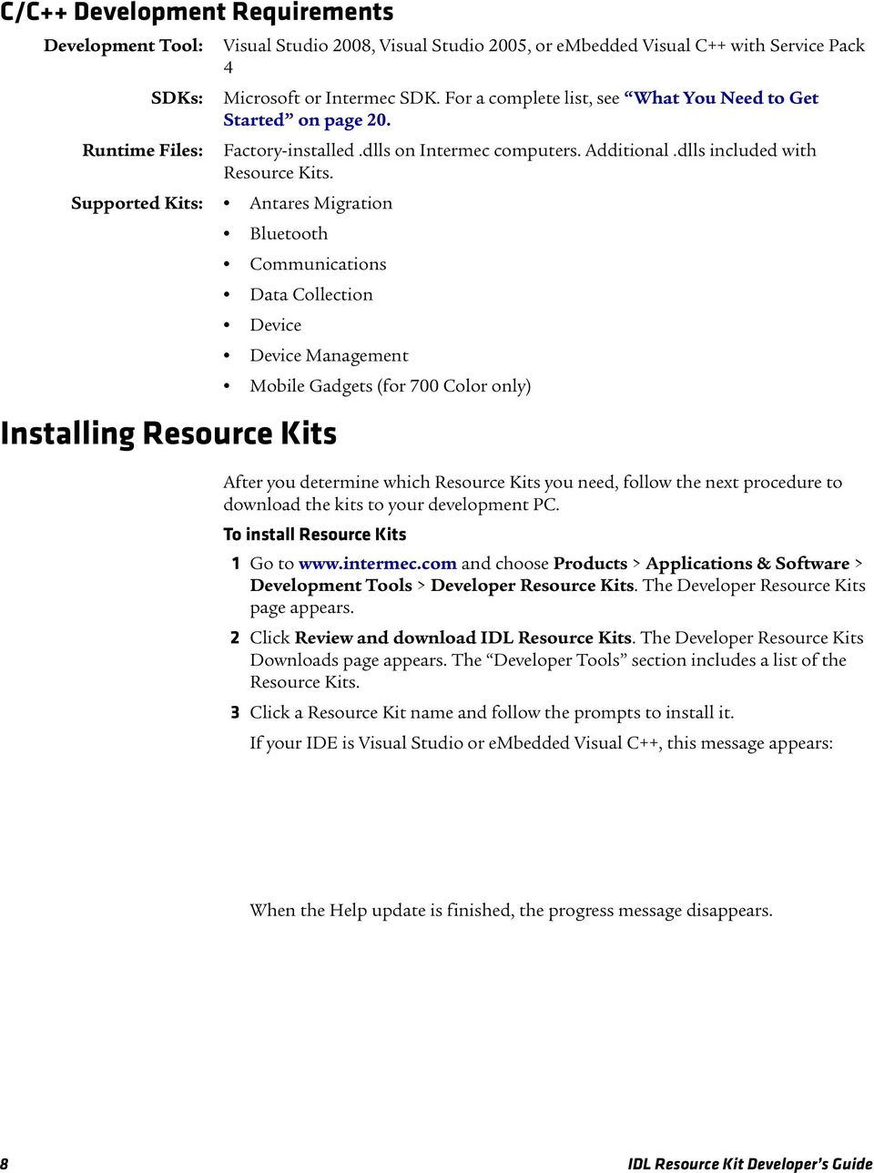 IDL  Intermec Developer Library Resource Kit  Developer s