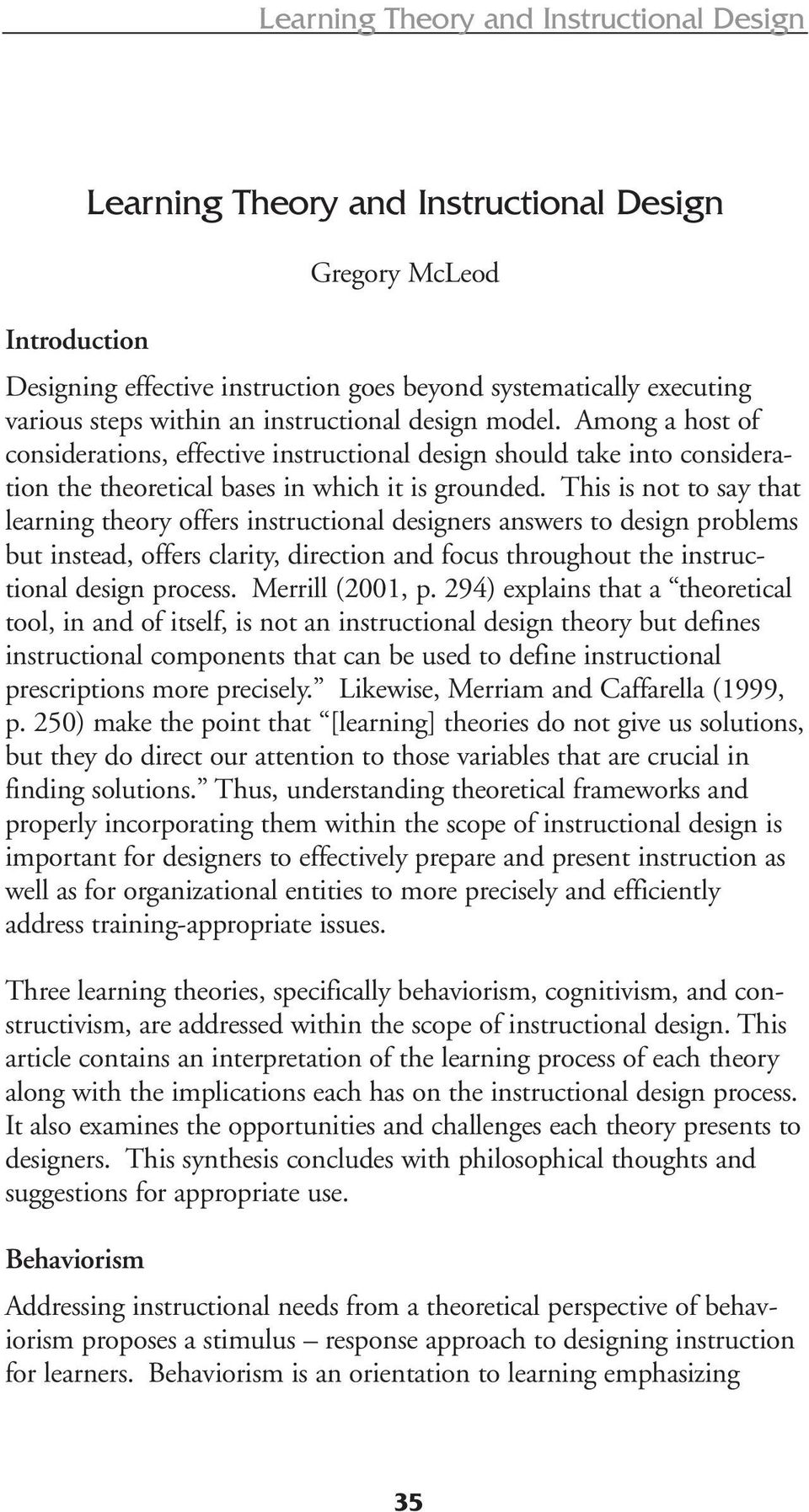 Learning Theory And Instructional Design Pdf Free Download