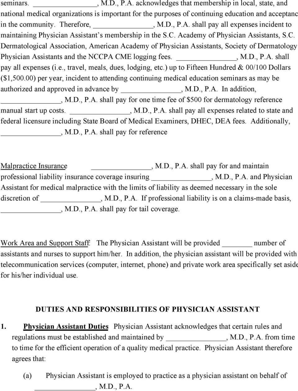 physician assistant employment agreement terms of
