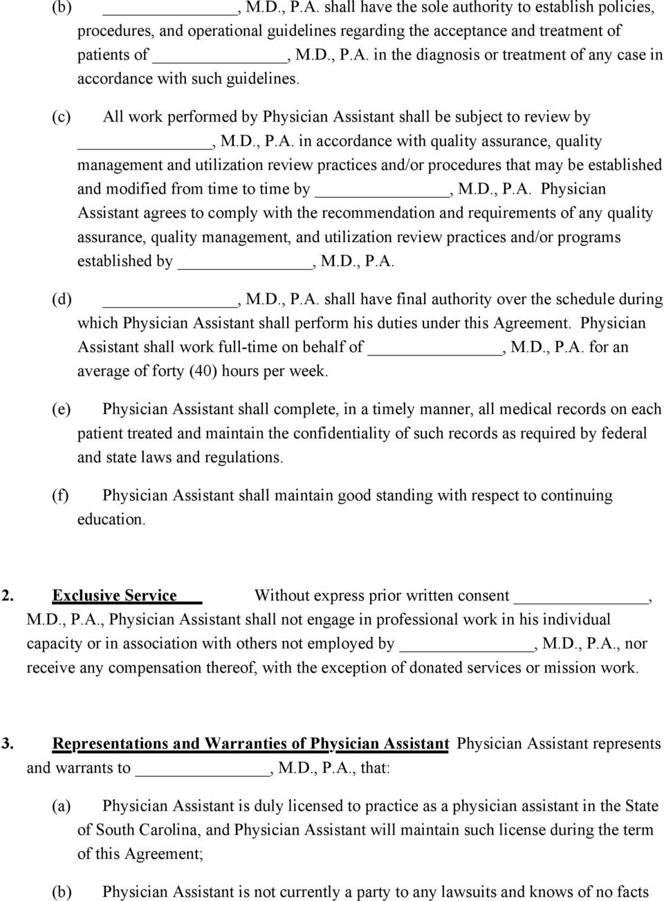 Physician Assistant Employment Agreement Terms Of Agreement Pdf