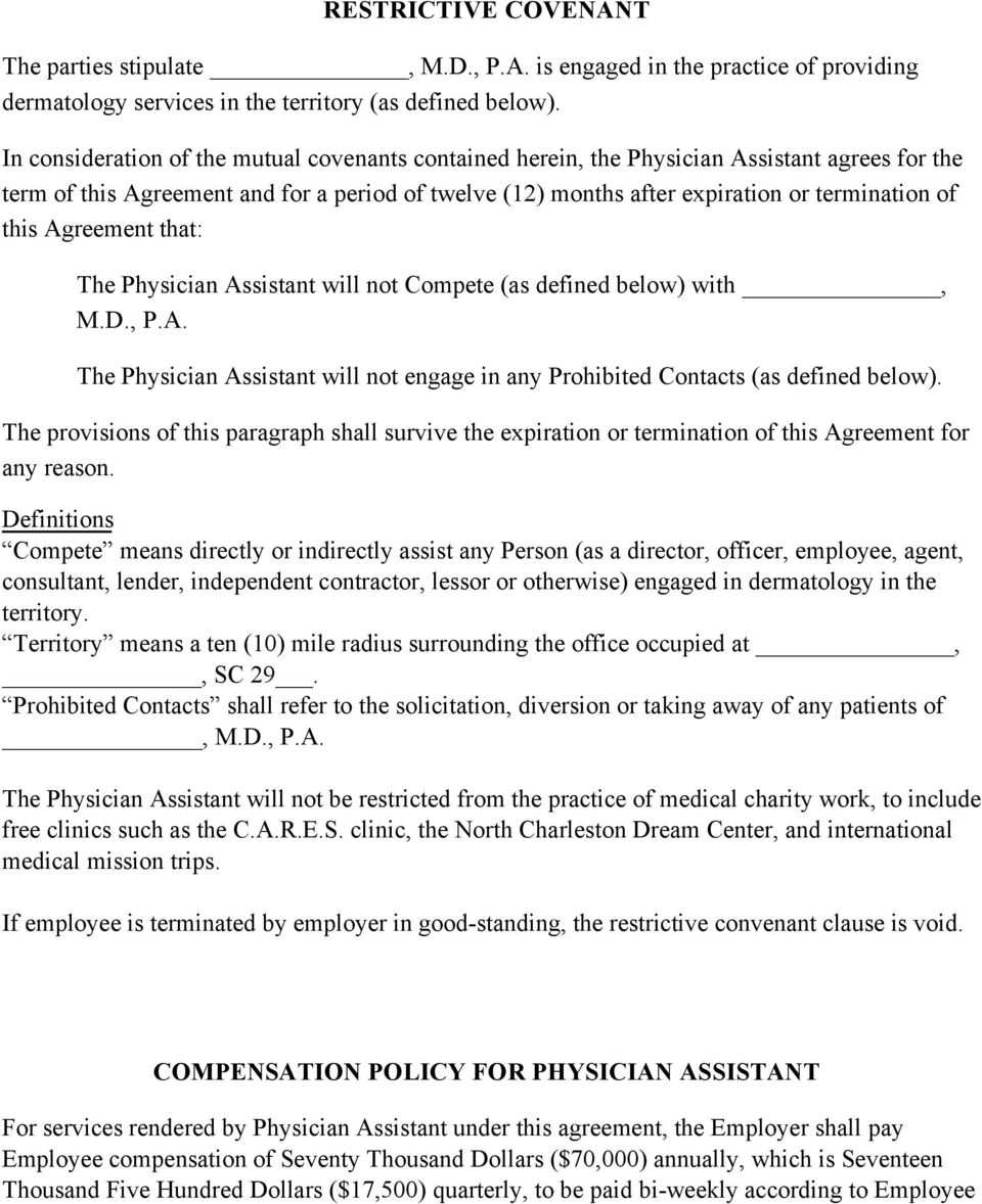 Physician Assistant Employment Agreement Terms Of Agreement Pdf Free Download