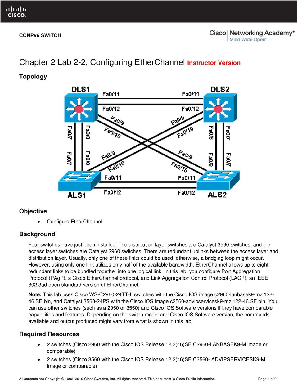 Chapter 2 Lab 2-2, Configuring EtherChannel Instructor