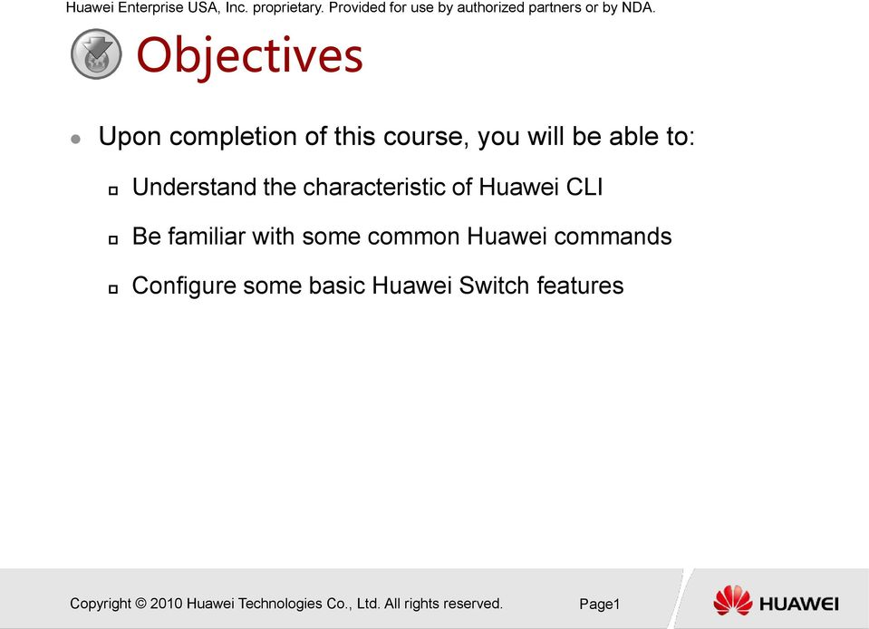 contrast with CISCO HUAWEI Switch CLI - PDF