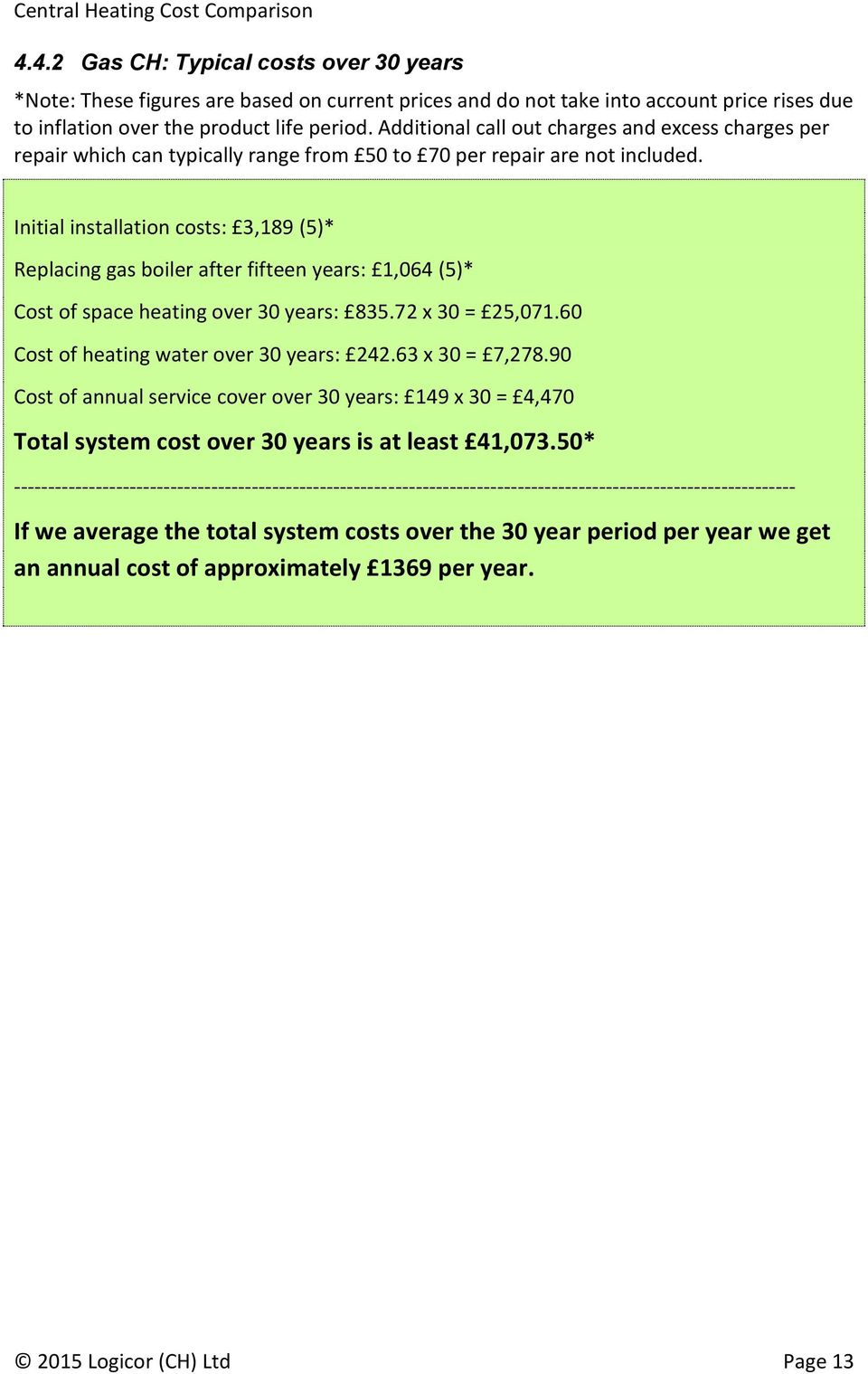 Central Heating Cost Comparison Pdf Average Of Rewiring A Terraced House Initial Installation Costs 3189 5 Replacing Gas Boiler After Fifteen Years