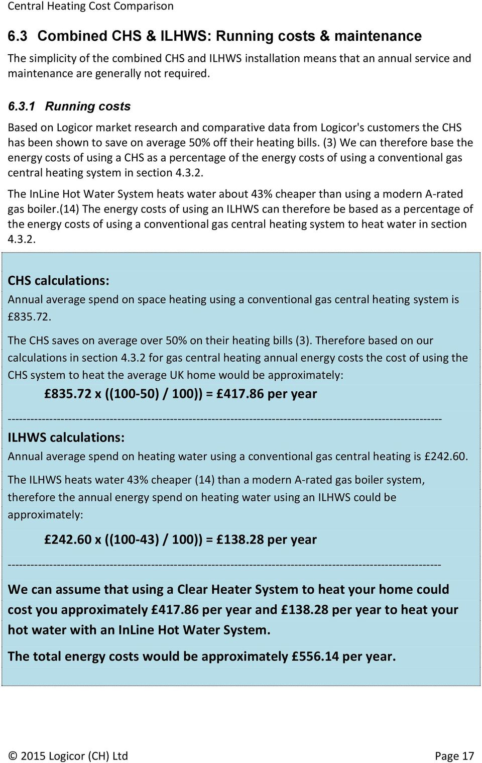 Central Heating Cost Comparison - PDF