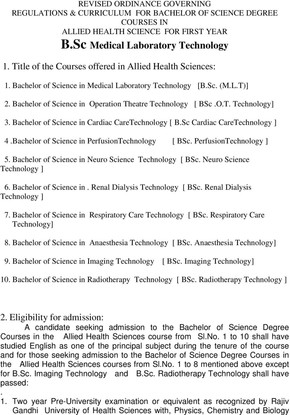 1  Title of the Courses offered in Allied Health Sciences: - PDF