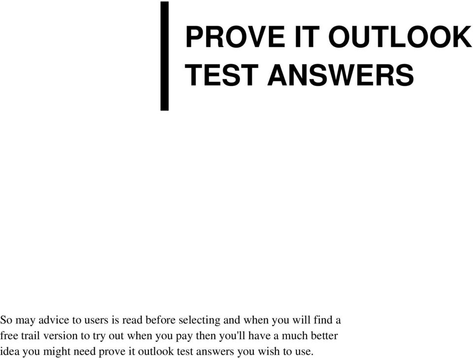 PROVE IT OUTLOOK TEST ANSWERS PDF