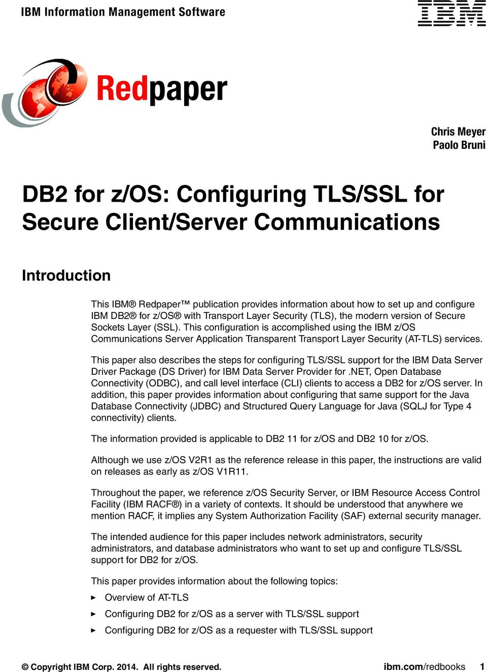 DB2 for z/os: Configuring TLS/SSL for Secure Client/Server