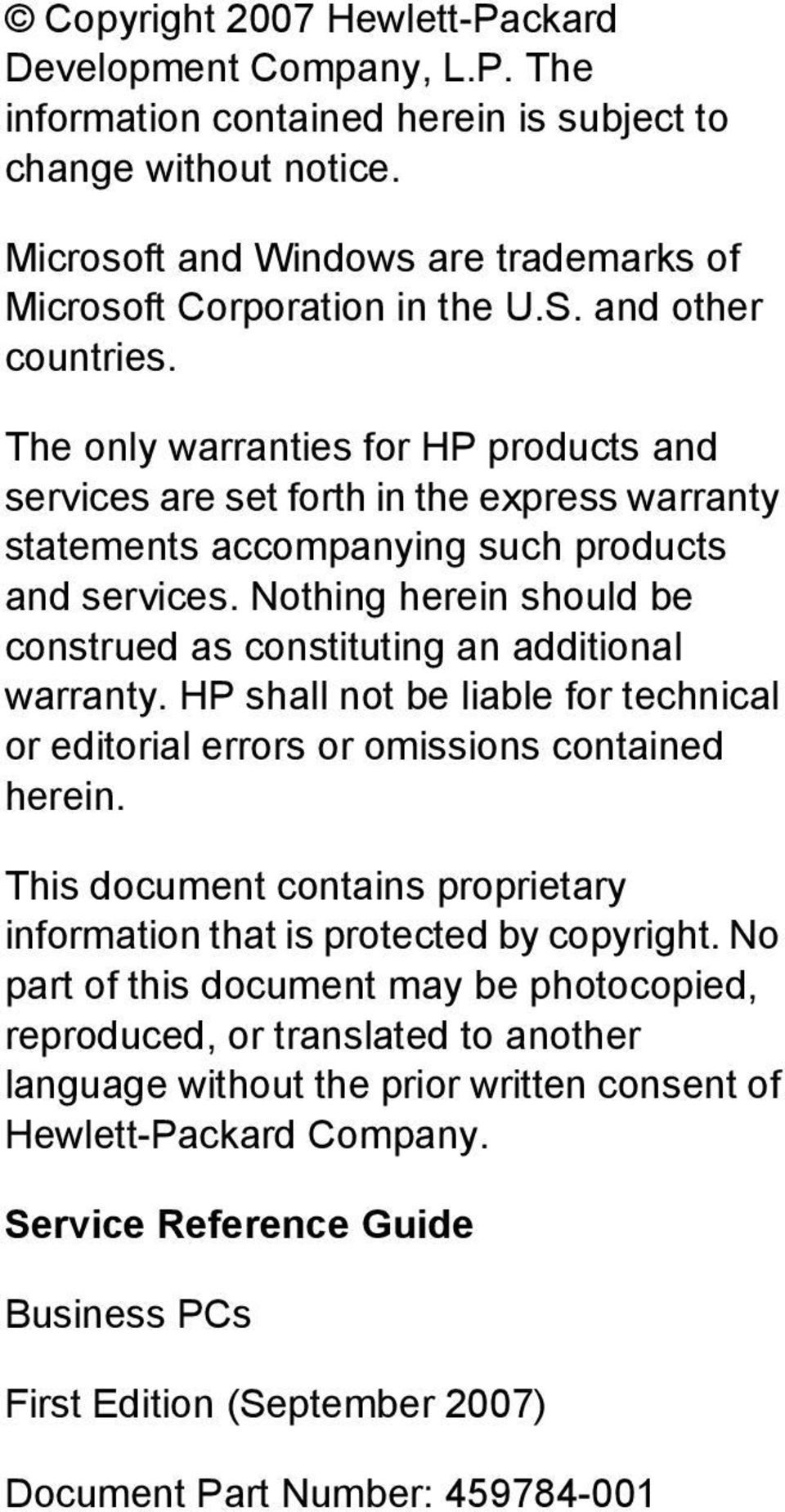 Service Reference Guide HP Compaq dc7800 Business PC - PDF