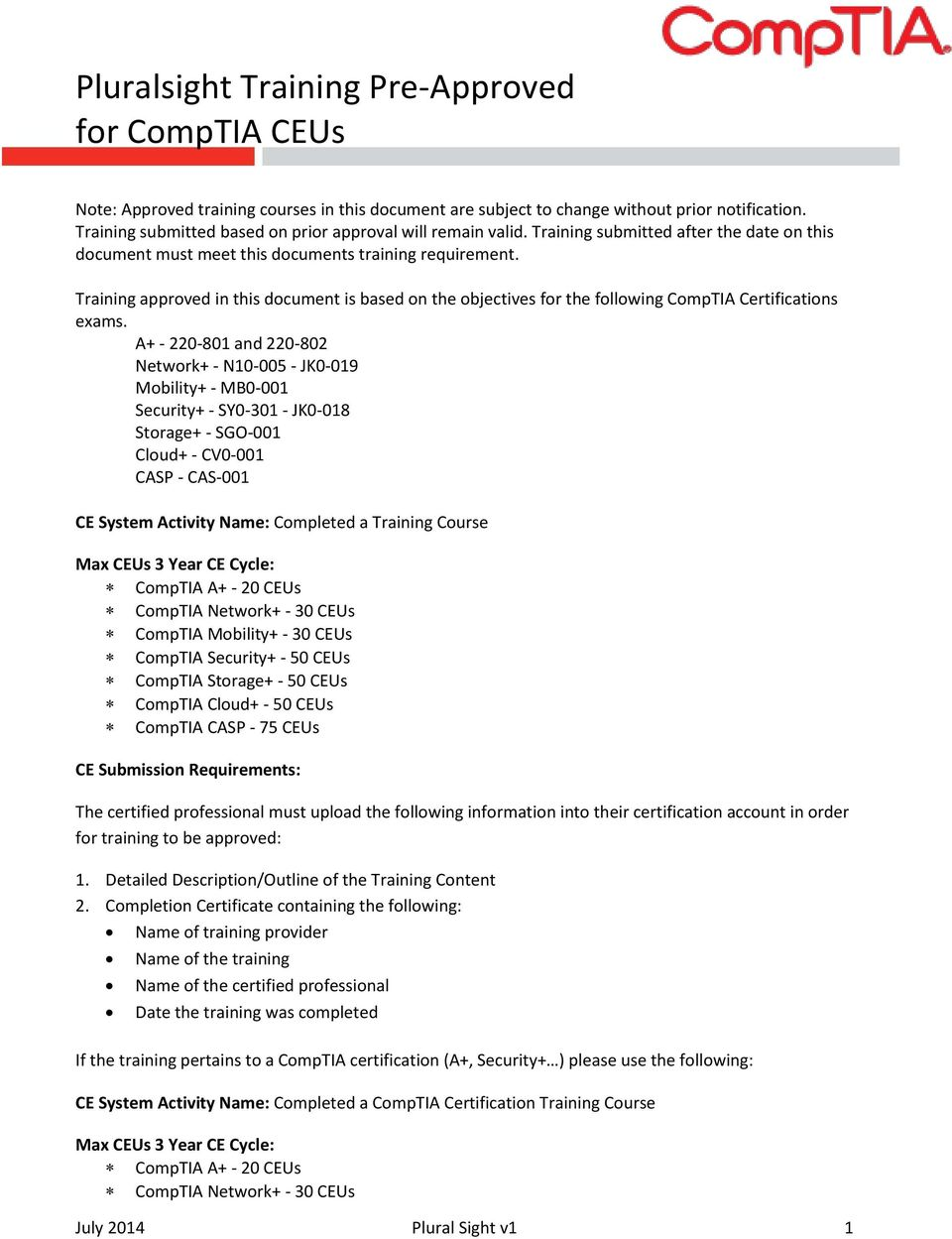 Training approved in this document is based on the objectives for the following CompTIA Certifications exams.
