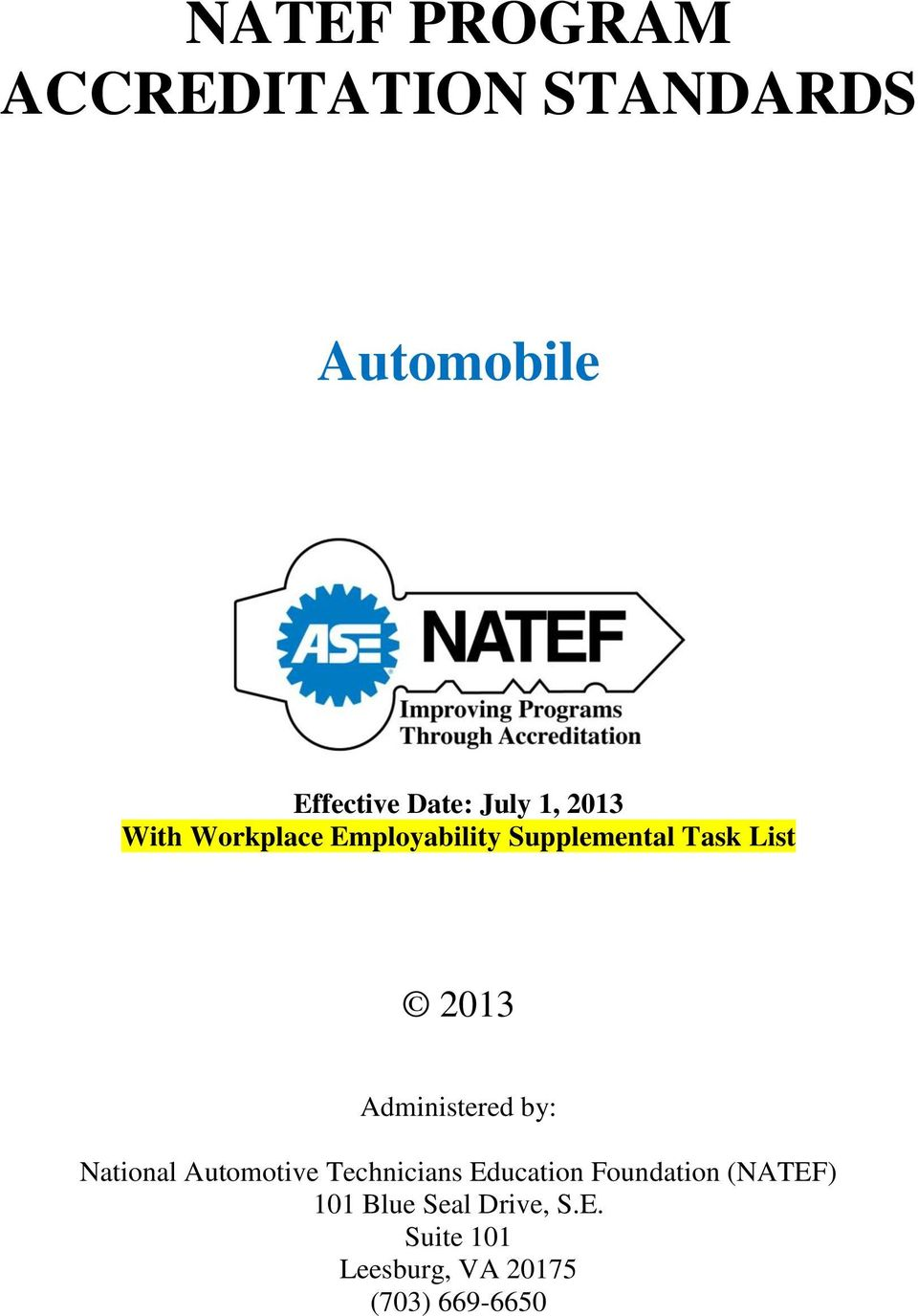 Natef Program Accreditation Standards Pdf