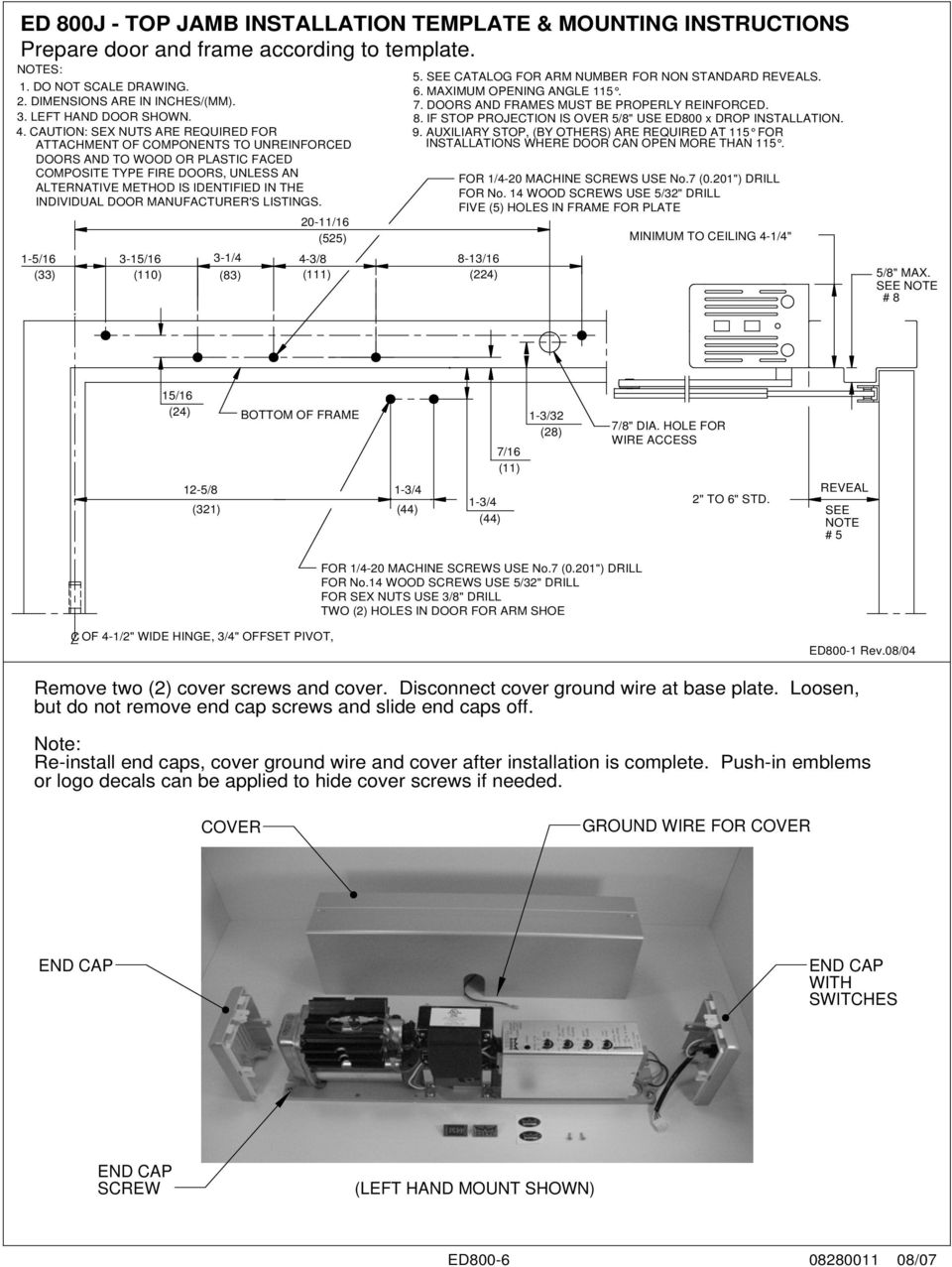 Dorma Ed 800 Series Service Manual Pdf 300 Key Switch Wiring Diagram If Stop Projection Is Over 5 8 Use Ed800 X Drop Installation 4