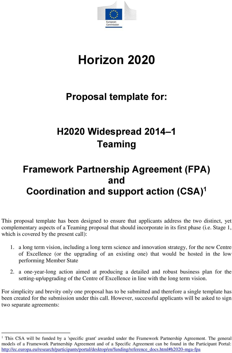 Horizon Proposal Template For H2020 Widespread Teaming Pdf