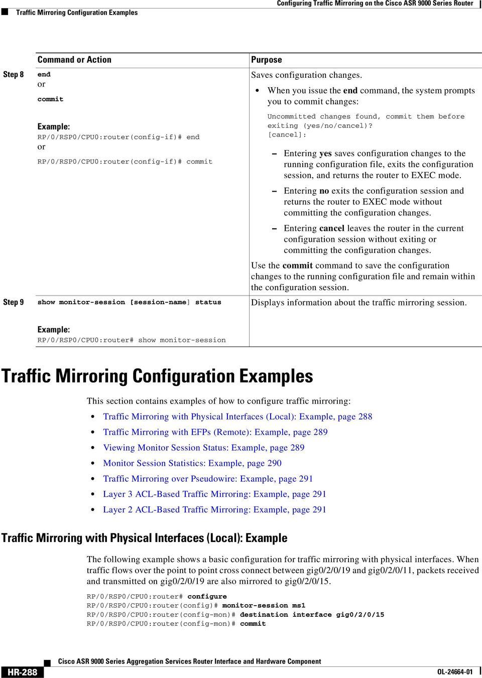 Configuring Traffic Mirroring on the Cisco ASR 9000 Series