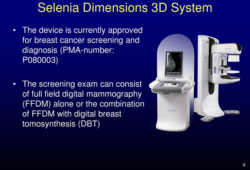 screening exam can consist of full field digital mammography (FFDM)