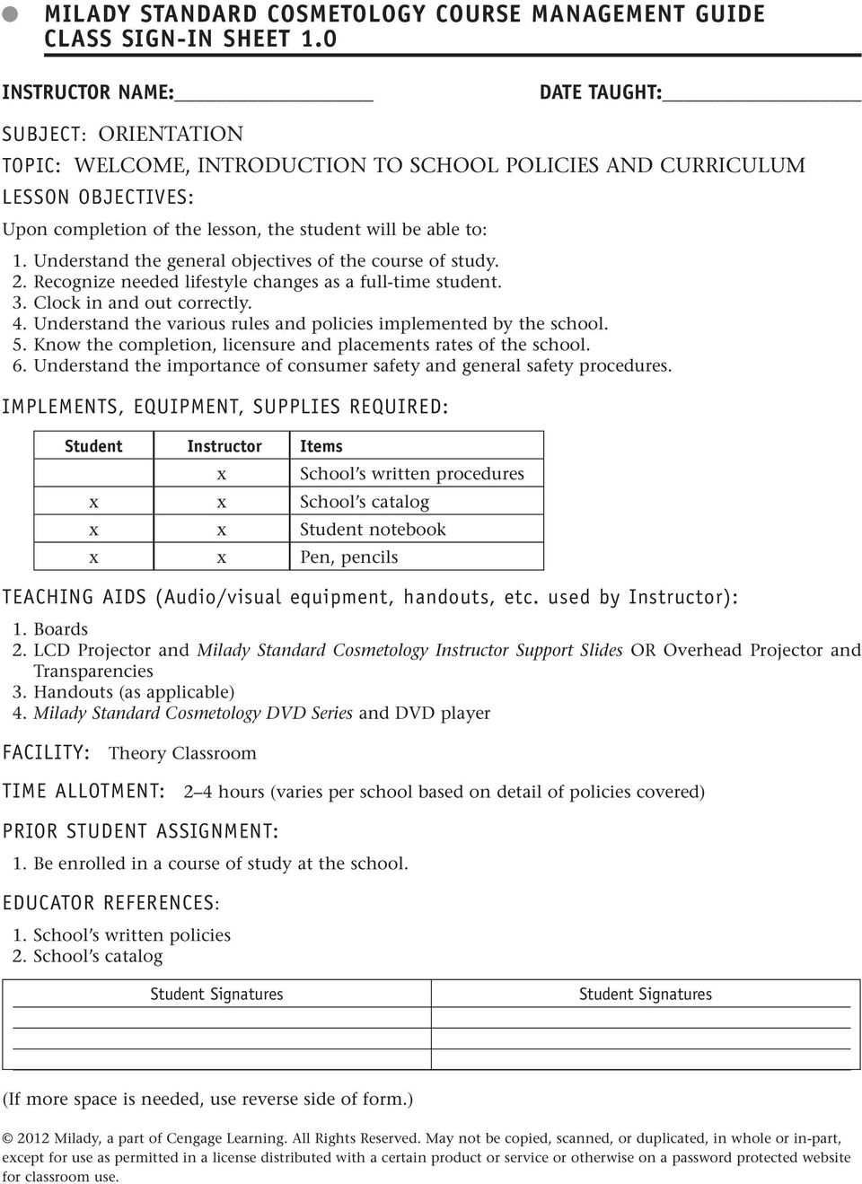 MILADY STANDARD COSMETOLOGY COURSE MANAGEMENT GUIDE CLASS