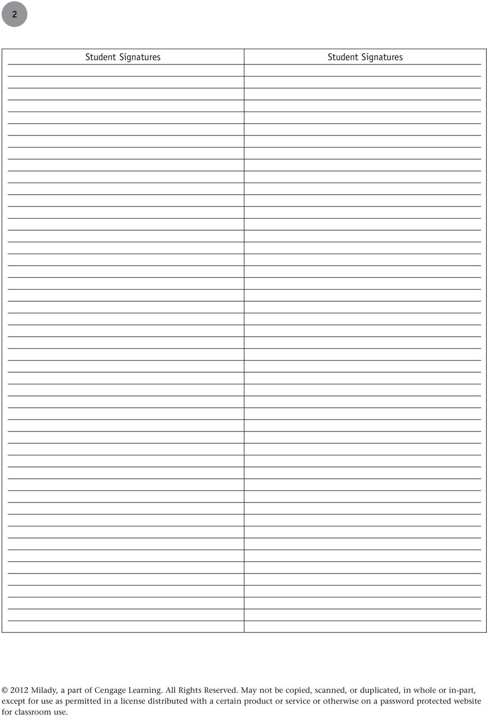 3 Tab 4 Lesson MILADY STANDARD COSMETOLOGY COURSE MANAGEMENT GUIDE CLASS  SIGN-IN SHEET 1.0 SUBJECT: ORIENTATION TOPIC: WELCOME, INTRODUCTION TO  SCHOOL ...