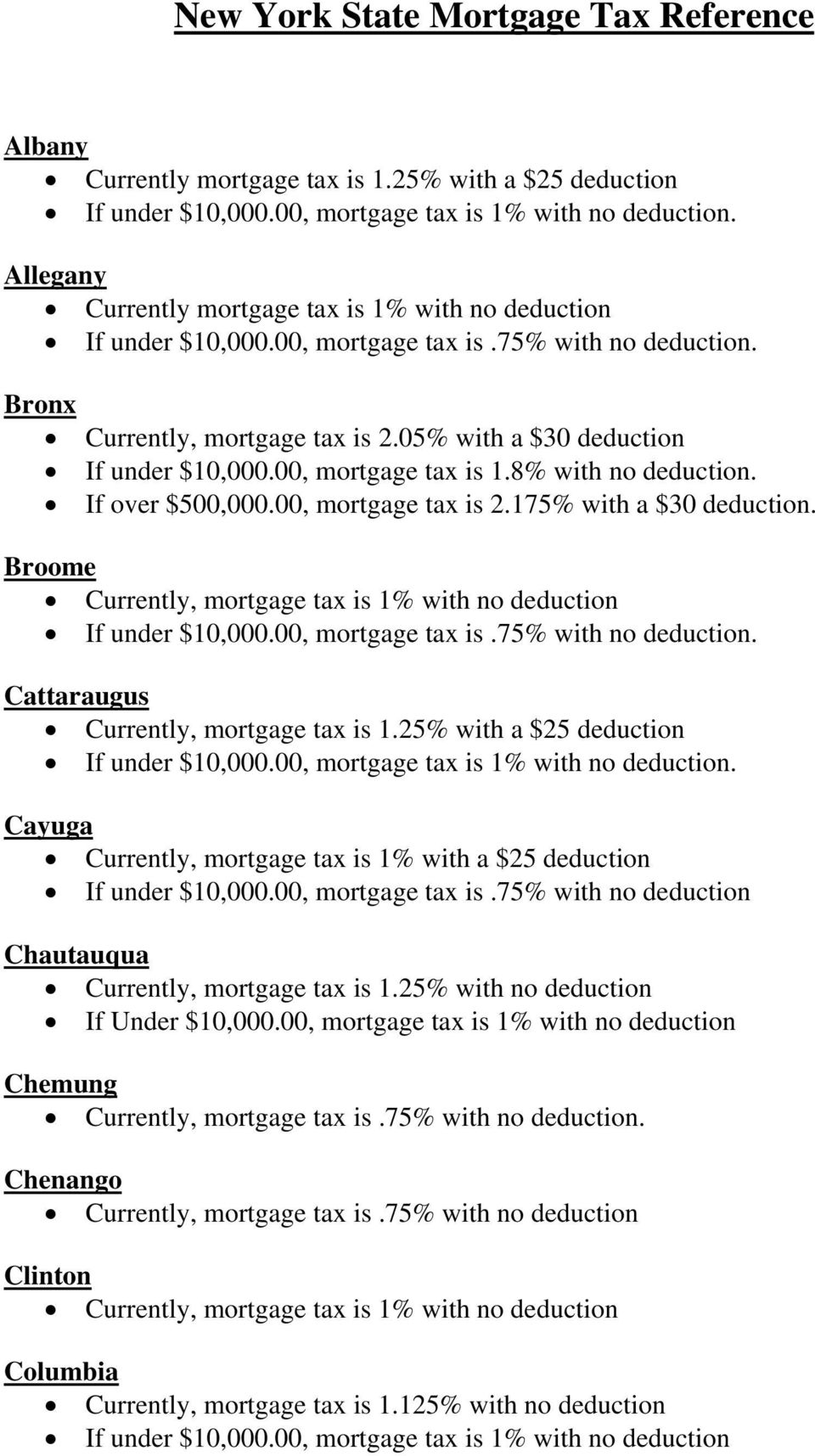 00, mortgage tax is 2.175% with a $30 deduction. Broome. Cattaraugus Currently, mortgage tax is 1.25% with a $25 deduction If under $10,000.00, mortgage tax is 1% with no deduction.