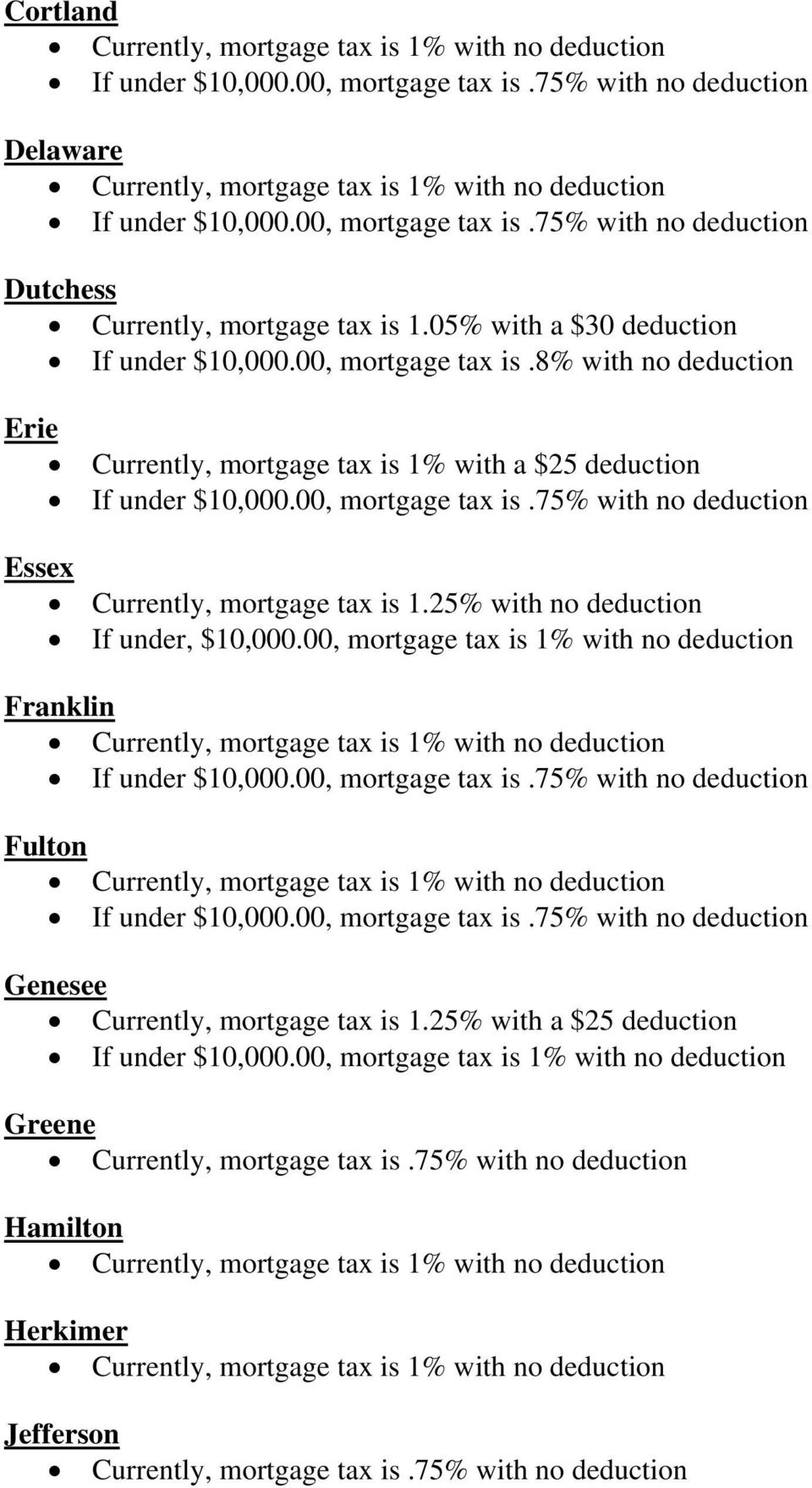 75% with no deduction Currently, mortgage tax is 1.25% with no deduction If under, $10,000.