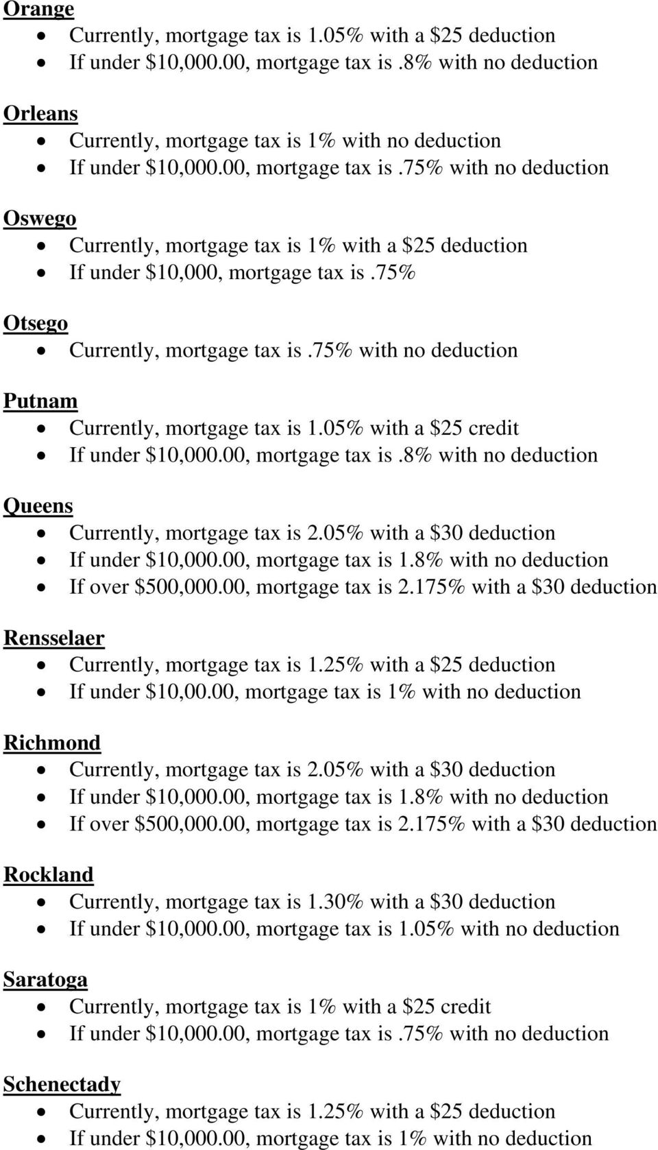 75% with no deduction Putnam Currently, mortgage tax is 1.05% with a $25 credit If under $10,000.00, mortgage tax is.8% with no deduction Queens Currently, mortgage tax is 2.