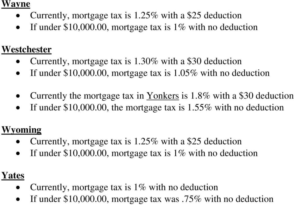 8% with a $30 deduction If under $10,000.00, the mortgage tax is 1.55% with no deduction Wyoming Currently, mortgage tax is 1.