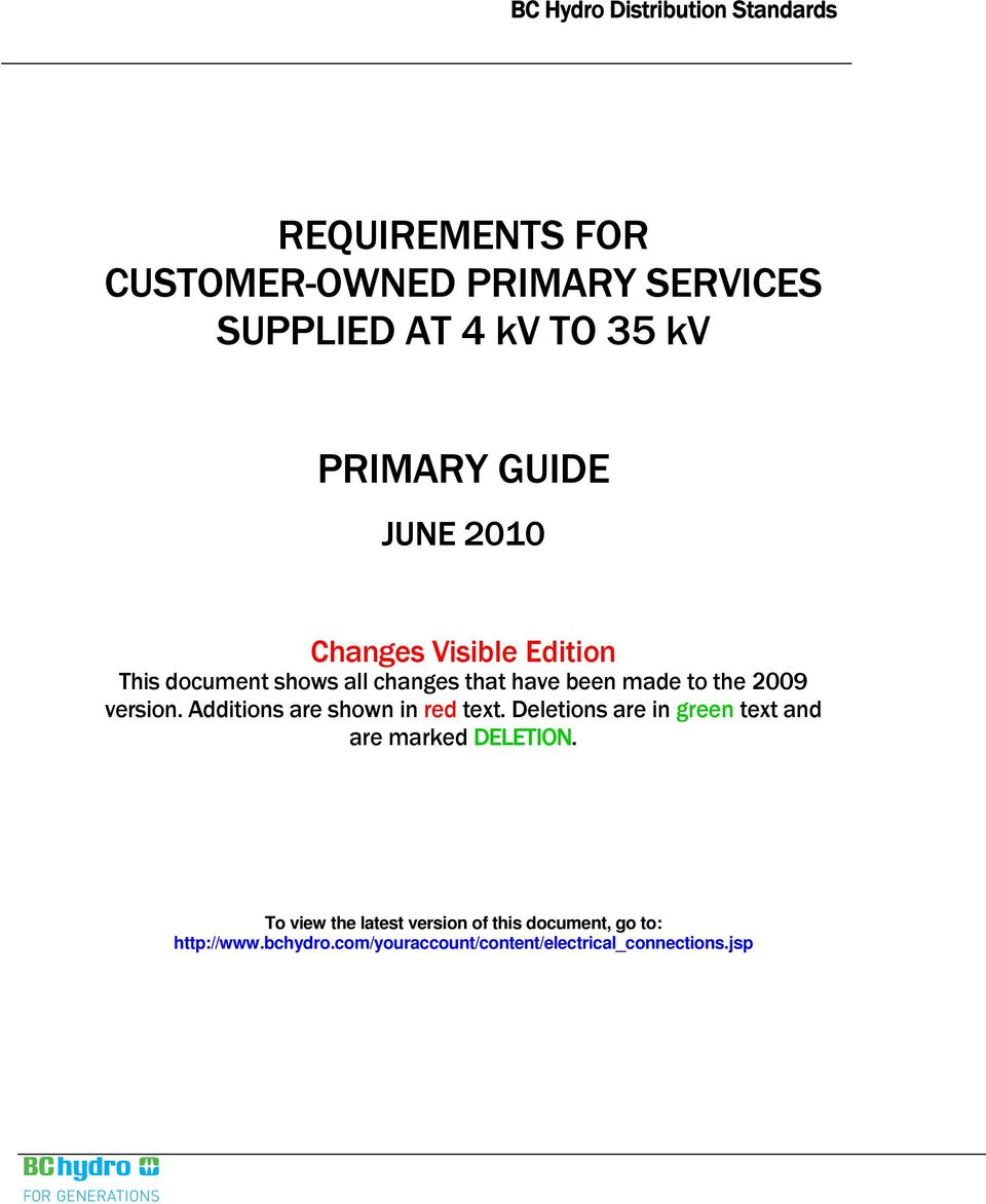 REQUIREMENTS FOR CUSTOMER-OWNED PRIMARY SERVICES SUPPLIED AT