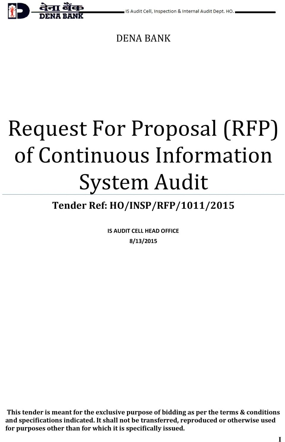 Request For Proposal (RFP) of Continuous Information System Audit - PDF