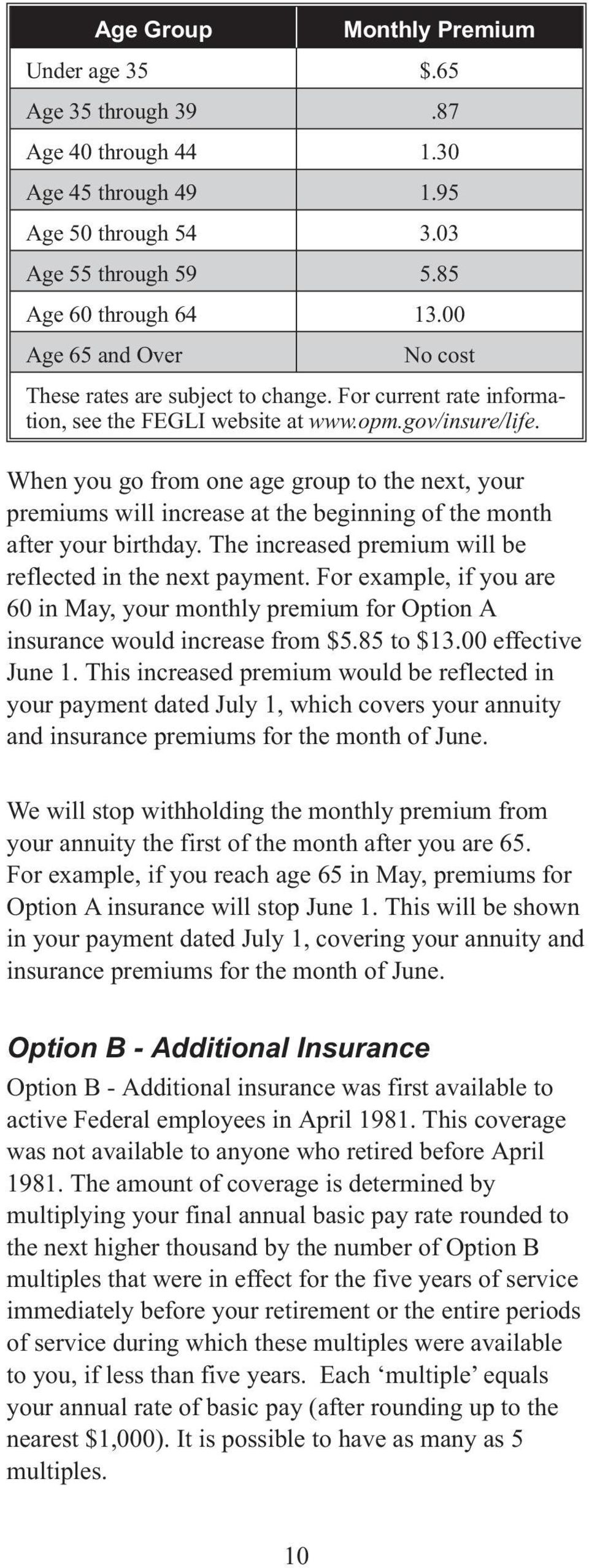 When you go from one age group to the next, your premiums will increase at the beginning of the month after your birthday. The increased premium will be reflected in the next payment.