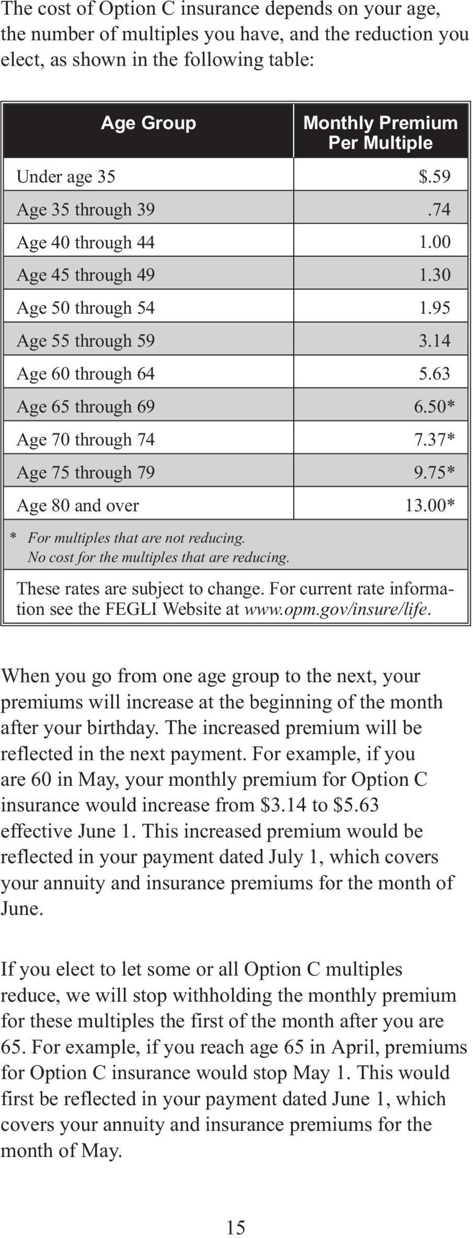 37* Age 75 through 79 9.75* Age 80 and over 13.00* * For multiples that are not reducing. No cost for the multiples that are reducing. These rates are subject to change.