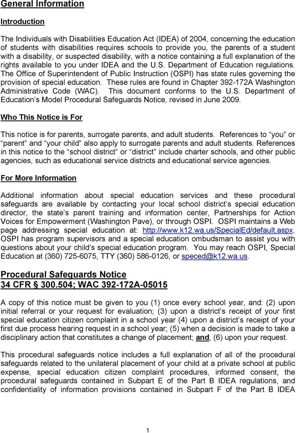 Notice Of Special Education Procedural Safeguards For Ospi >> Notice Of Special Education Procedural Safeguards For Students And