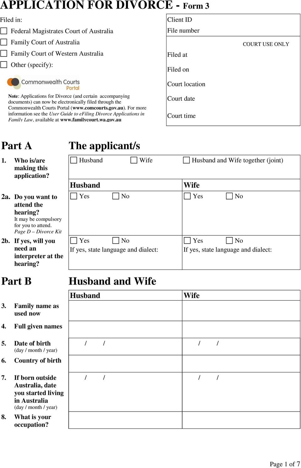 Application for divorce form 3 for more information see the user guide to efiling divorce applications in family law available solutioingenieria Gallery