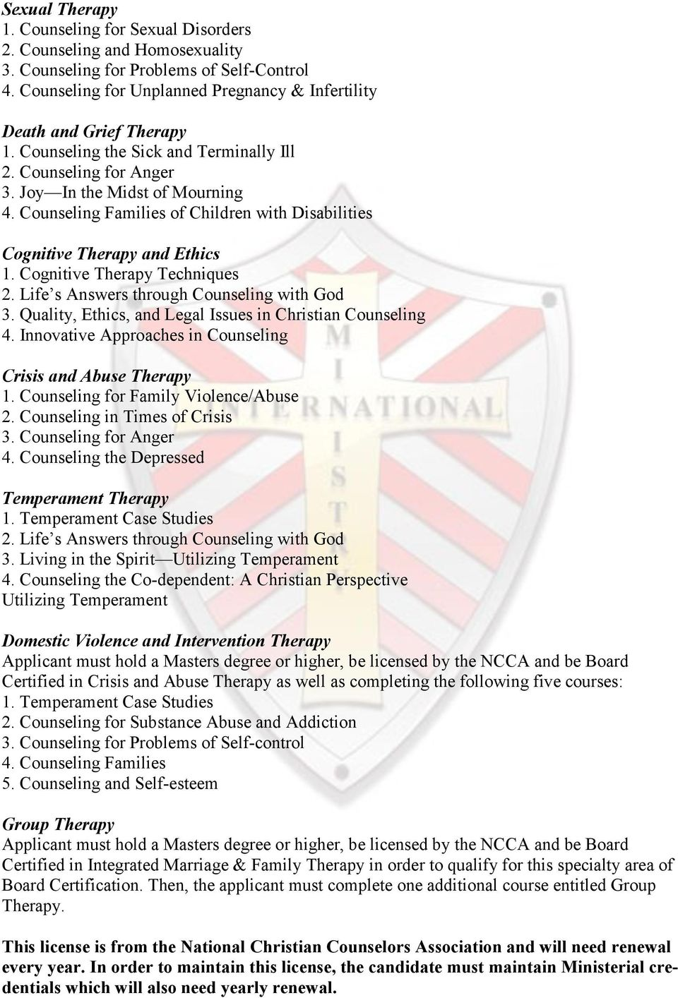 Ministry International Institute Counseling Training Pdf
