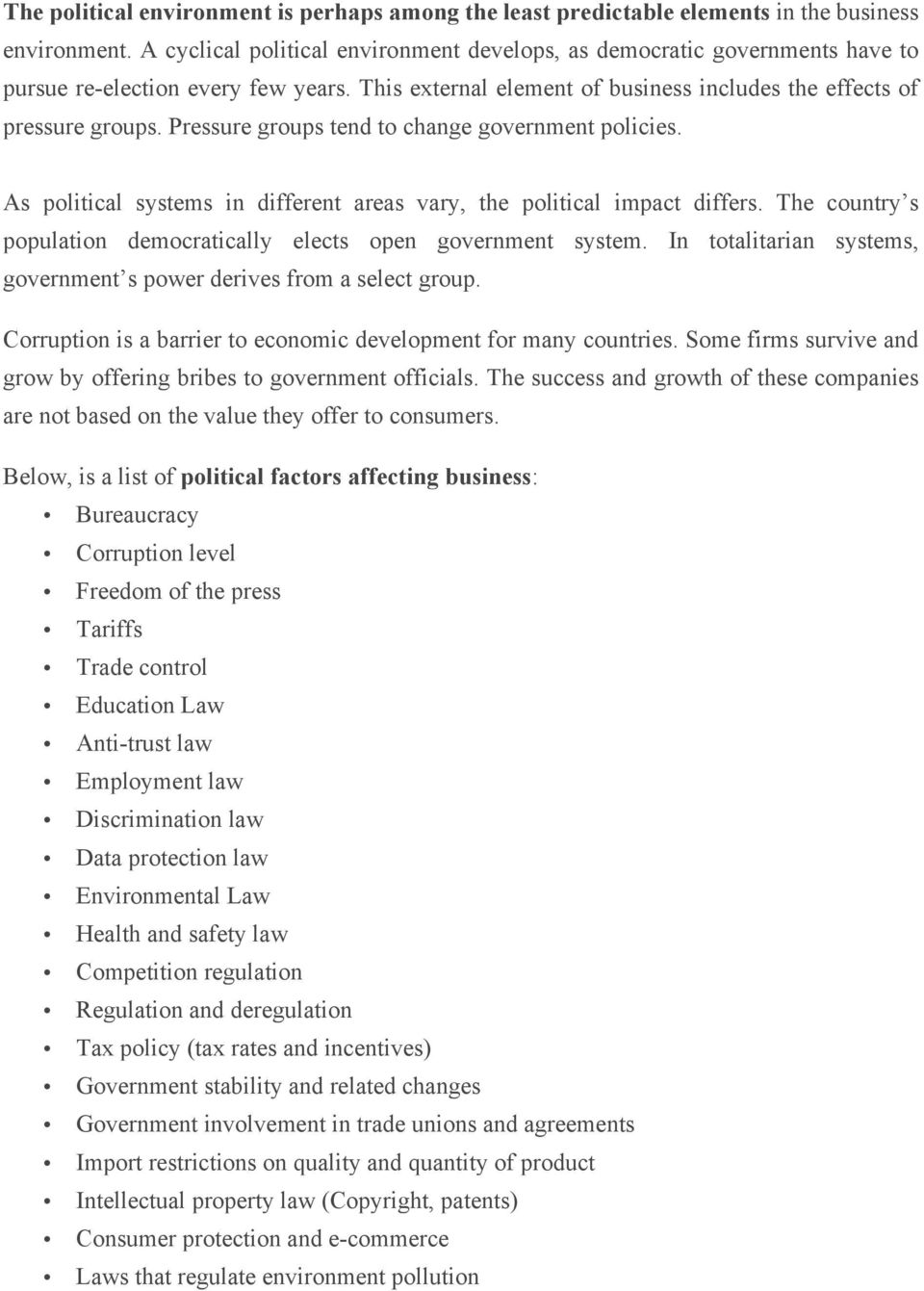 impact of political environment on business