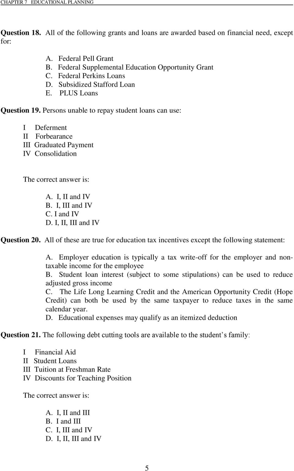 Chapter 7 Multiple Choice Questions Pdf