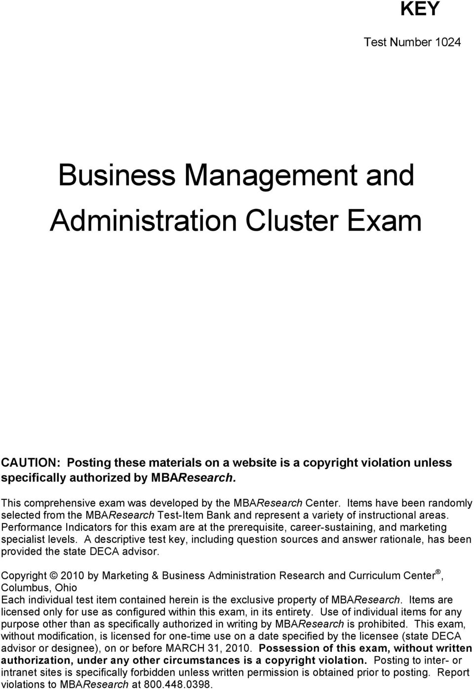 Business Management and Administration Cluster Exam - PDF