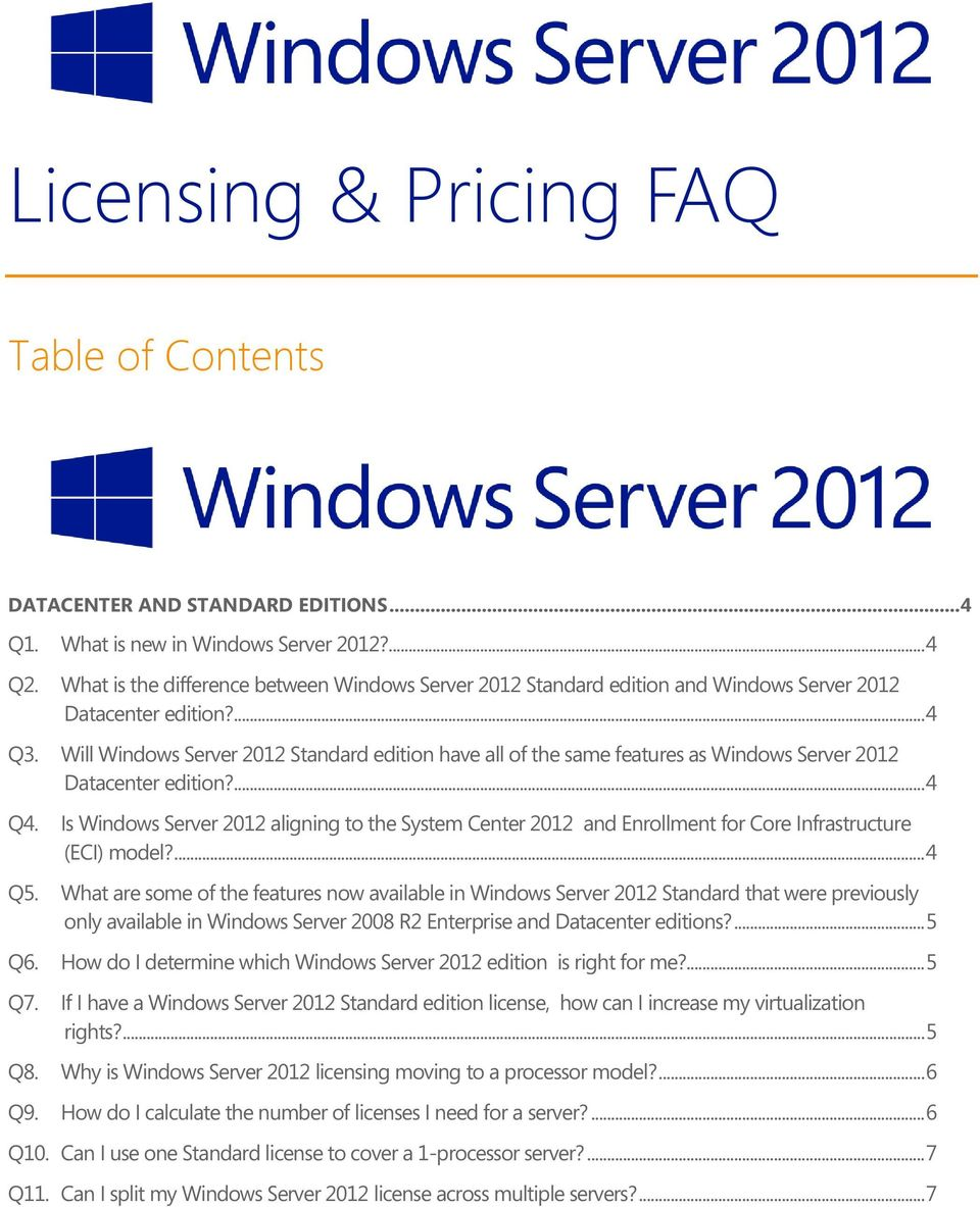 Will Windows Server 2012 Standard edition have all of the same features as Windows Server 2012 Datacenter edition?... 4 Q4.