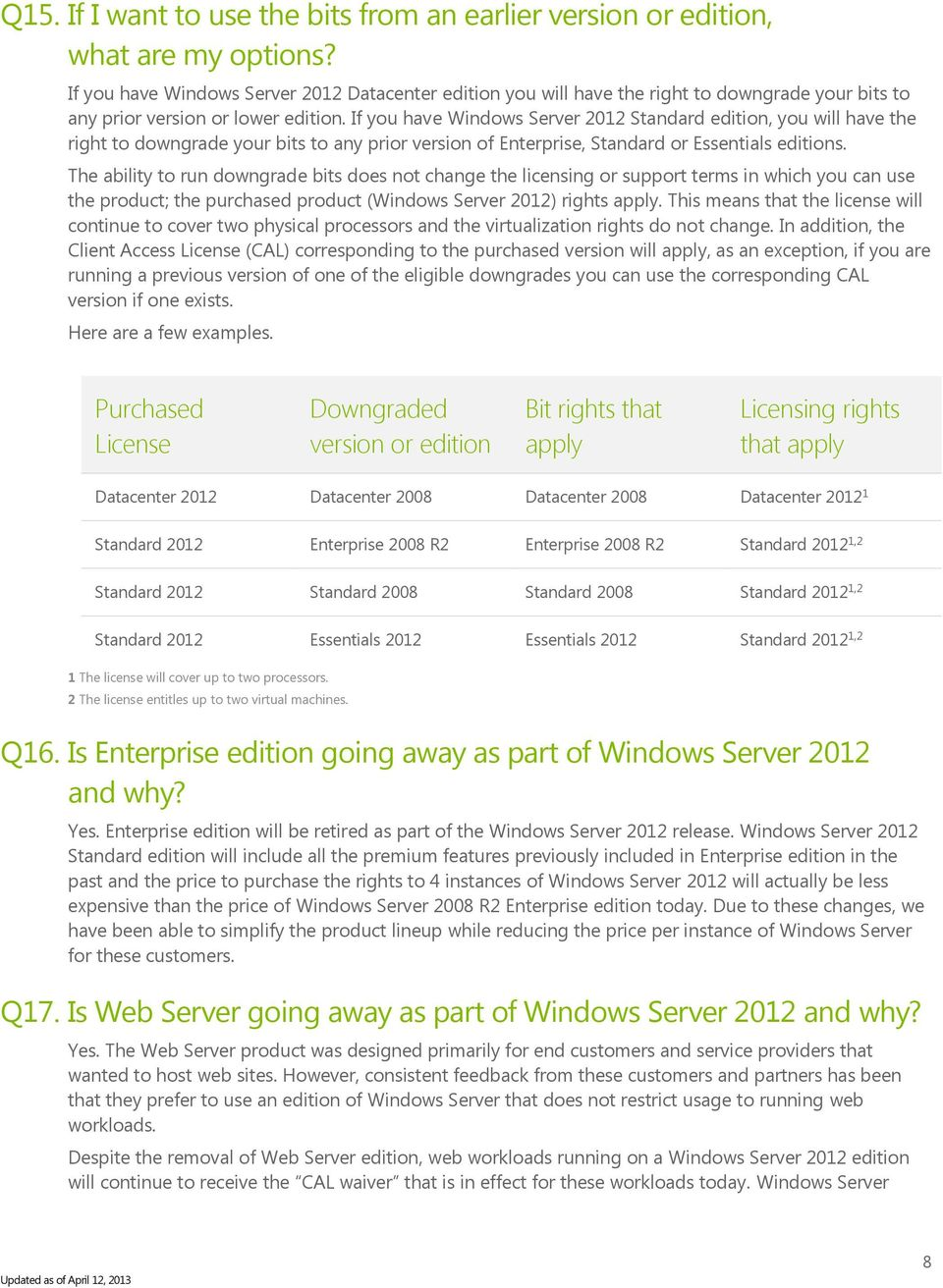 If you have Windows Server 2012 Standard edition, you will have the right to downgrade your bits to any prior version of Enterprise, Standard or Essentials editions.