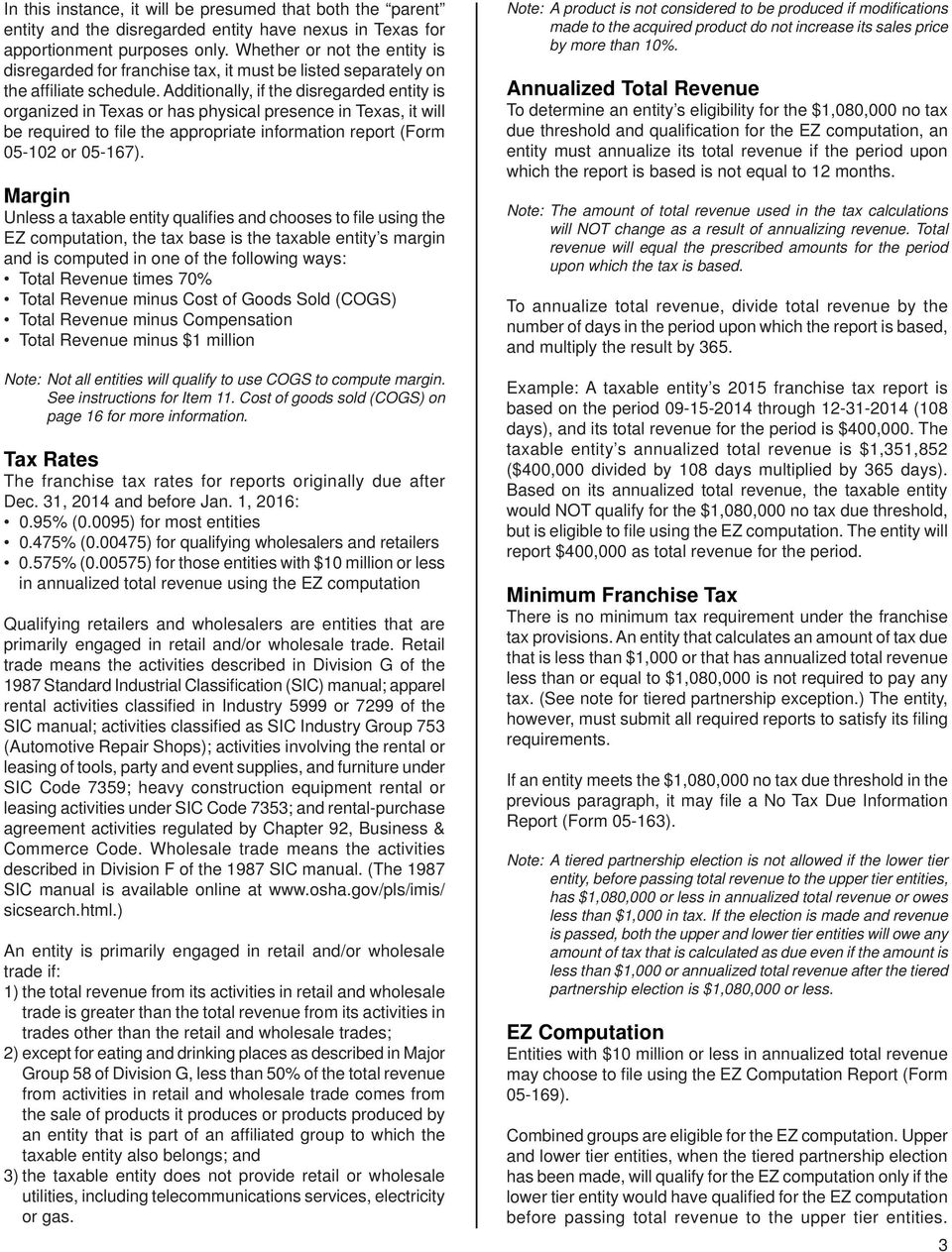 2015 Texas Franchise Tax Report Information And Instructions Pdf