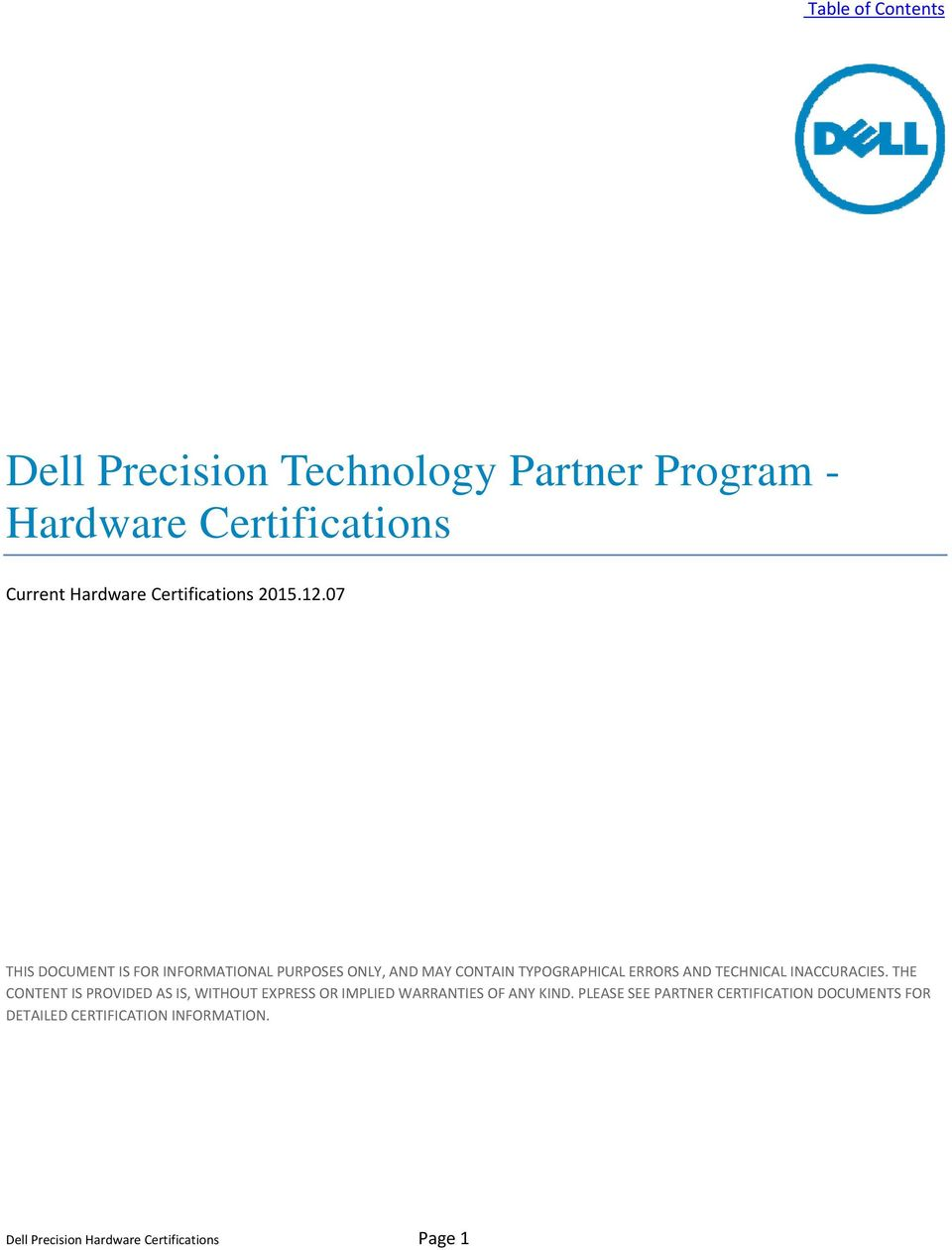Dell Precision Technology Partner Program Hardware Certifications