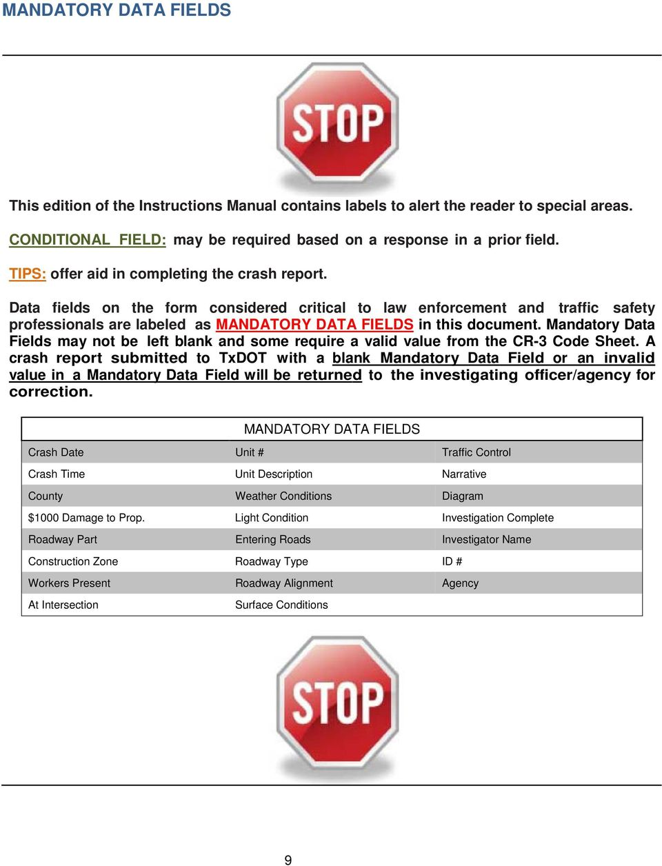 INSTRUCTIONS TO POLICE FOR REPORTING CRASHES - PDF