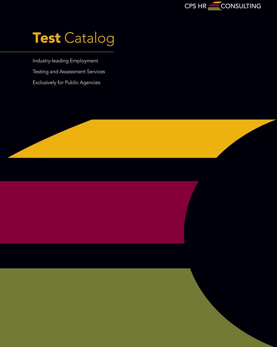 Test Catalog  Industry-leading Employment  Testing and
