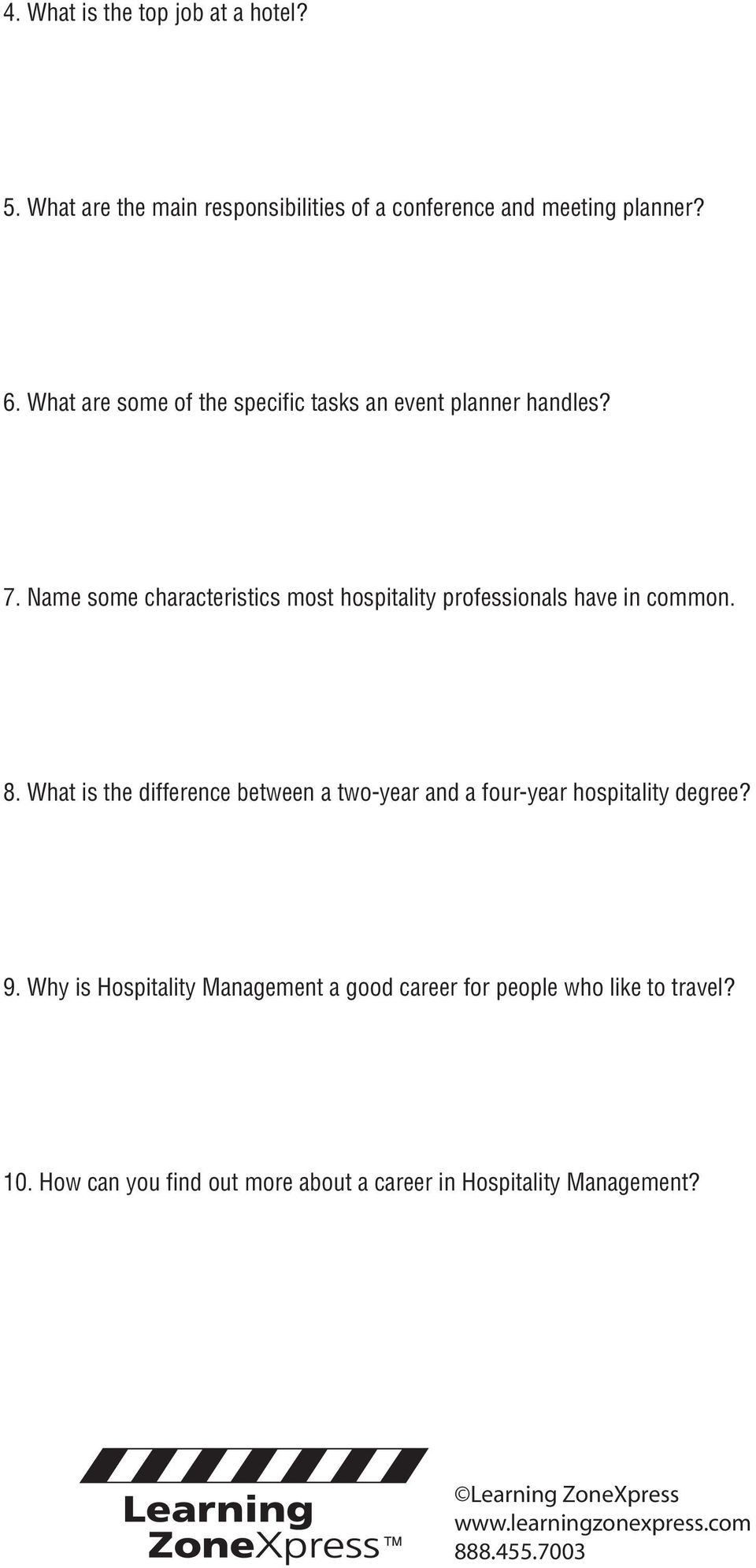 Hospitality  Review  Careers in VIDEO WORKSHEET #3479  Name
