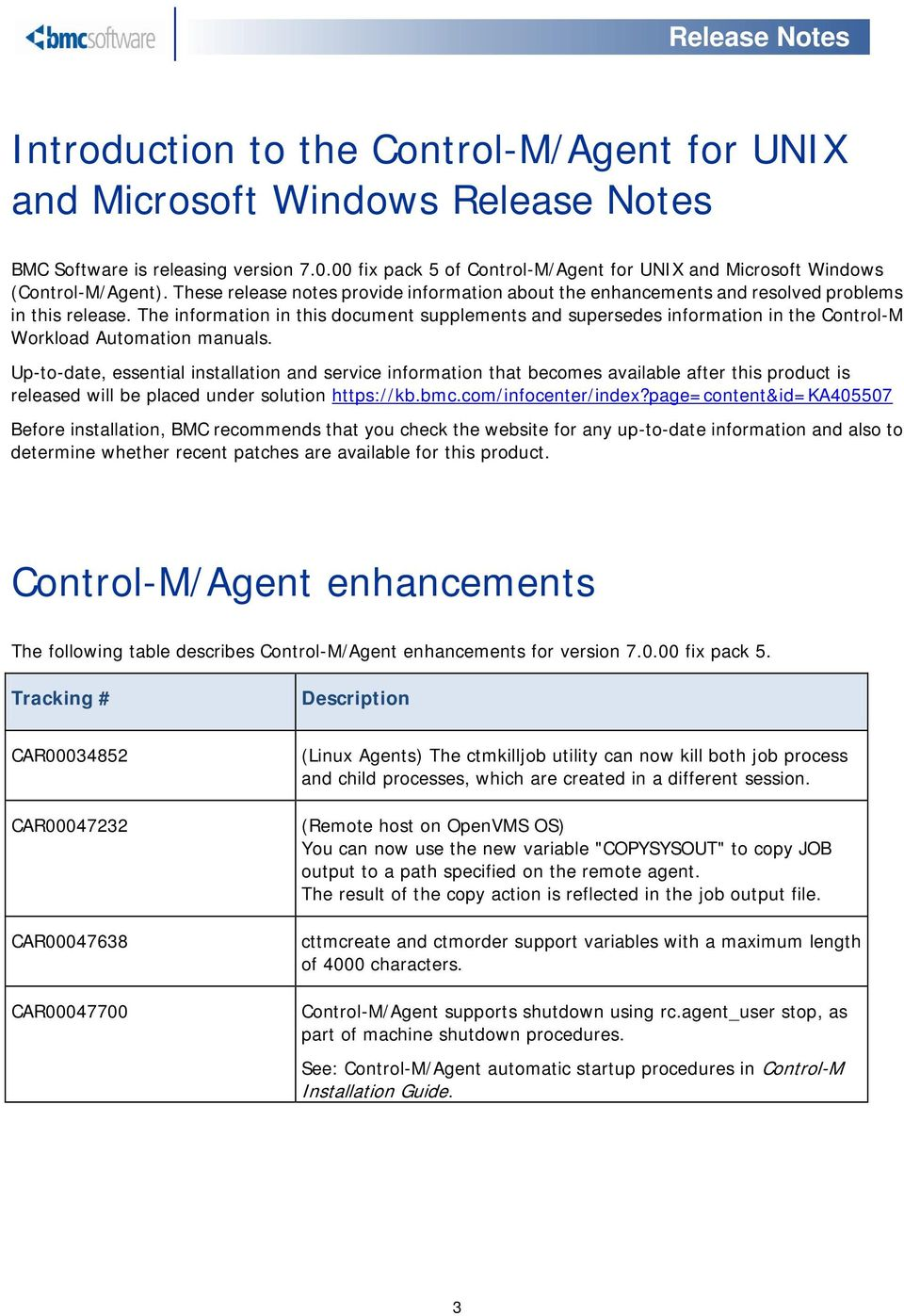 Control-m/agent for unix and microsoft windows release notes.