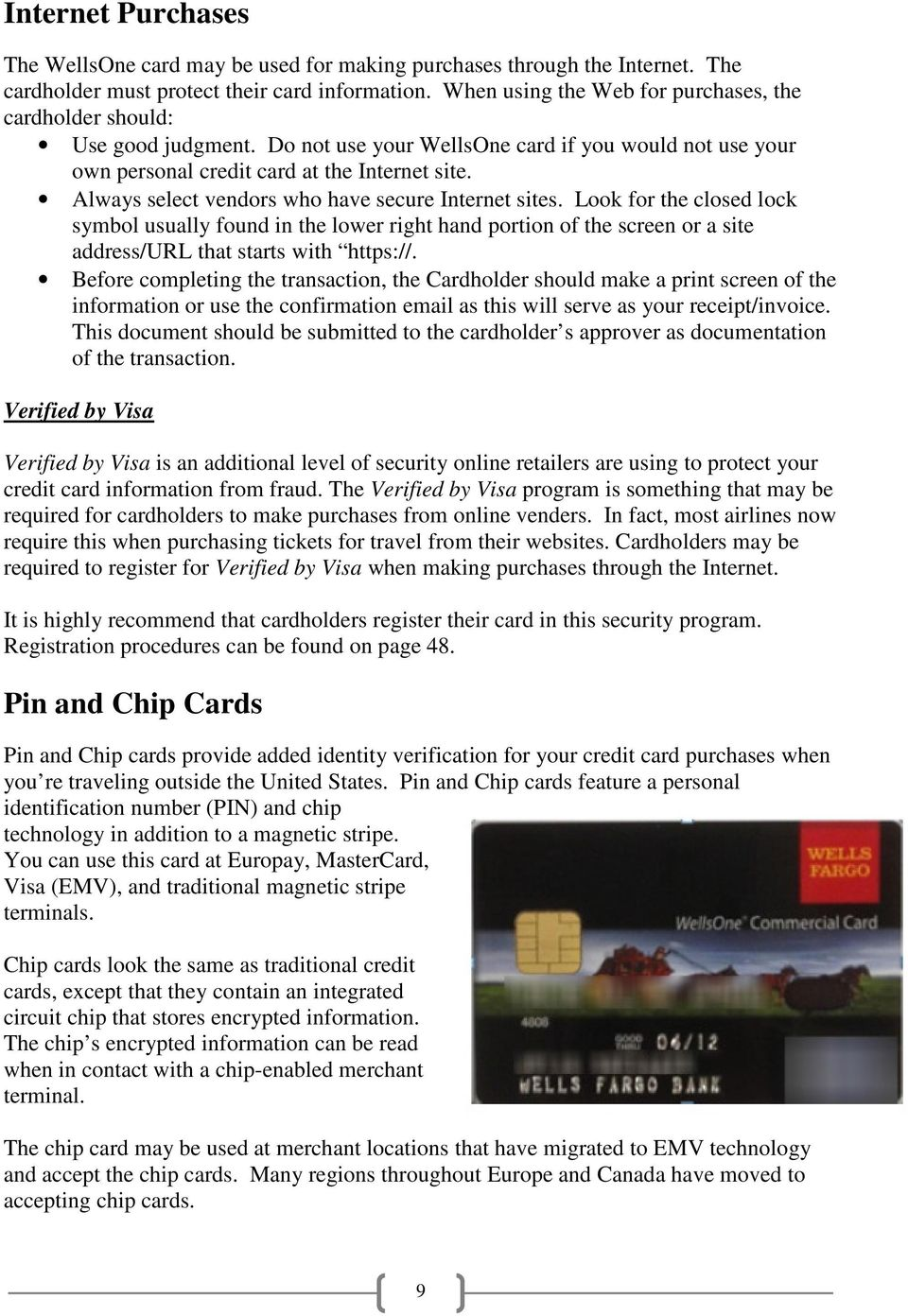 Wells Fargo Bank WellsOne Commercial Card Program. Policy and