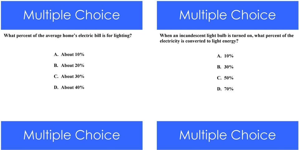 When an incandescent light bulb is turned on, what percent of the electricity