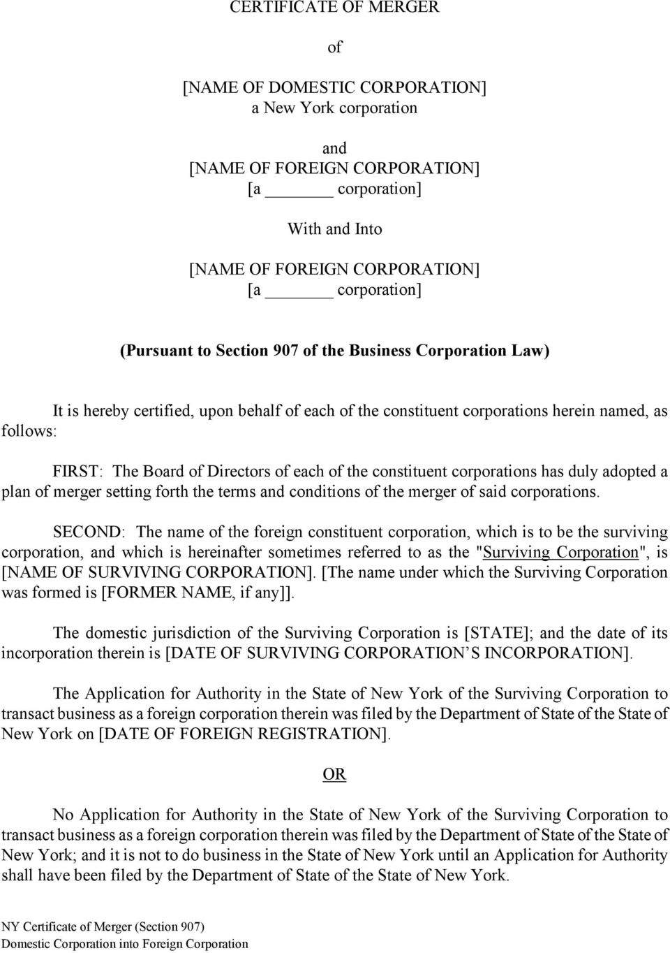New York Certificate Of Merger Section Pdf