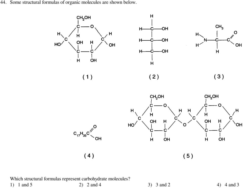 Which structural formulas represent